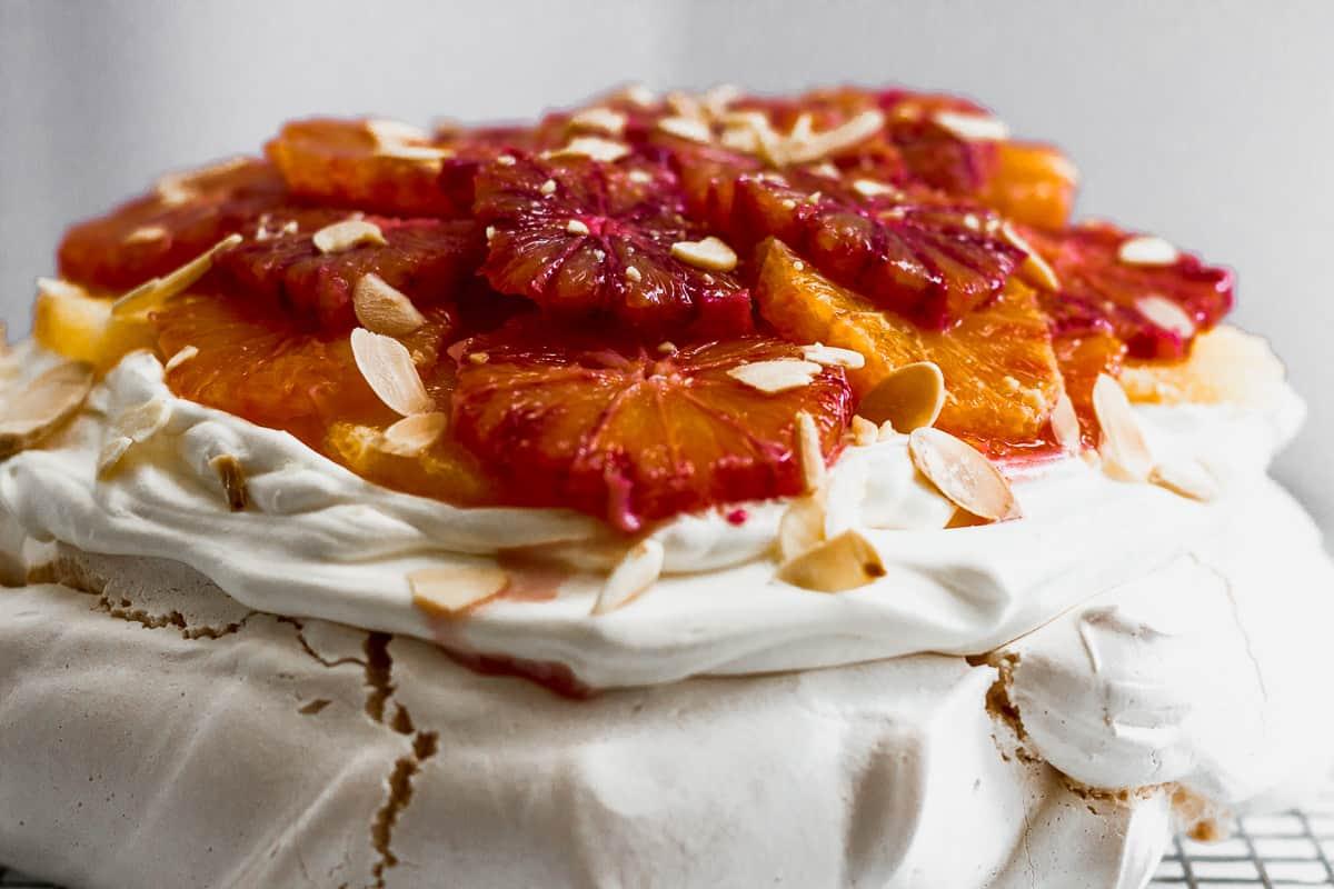 Almond and Blood Orange Curd Pavlova