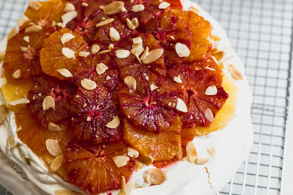 Almond and Blood Orange Curd Pavlova