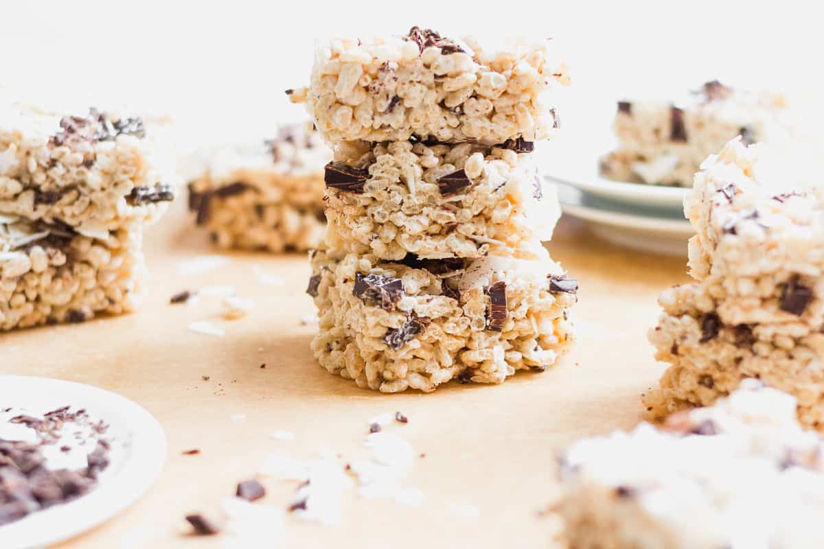 Maple Tahini Rice Crispy Treats stacked on top of each other