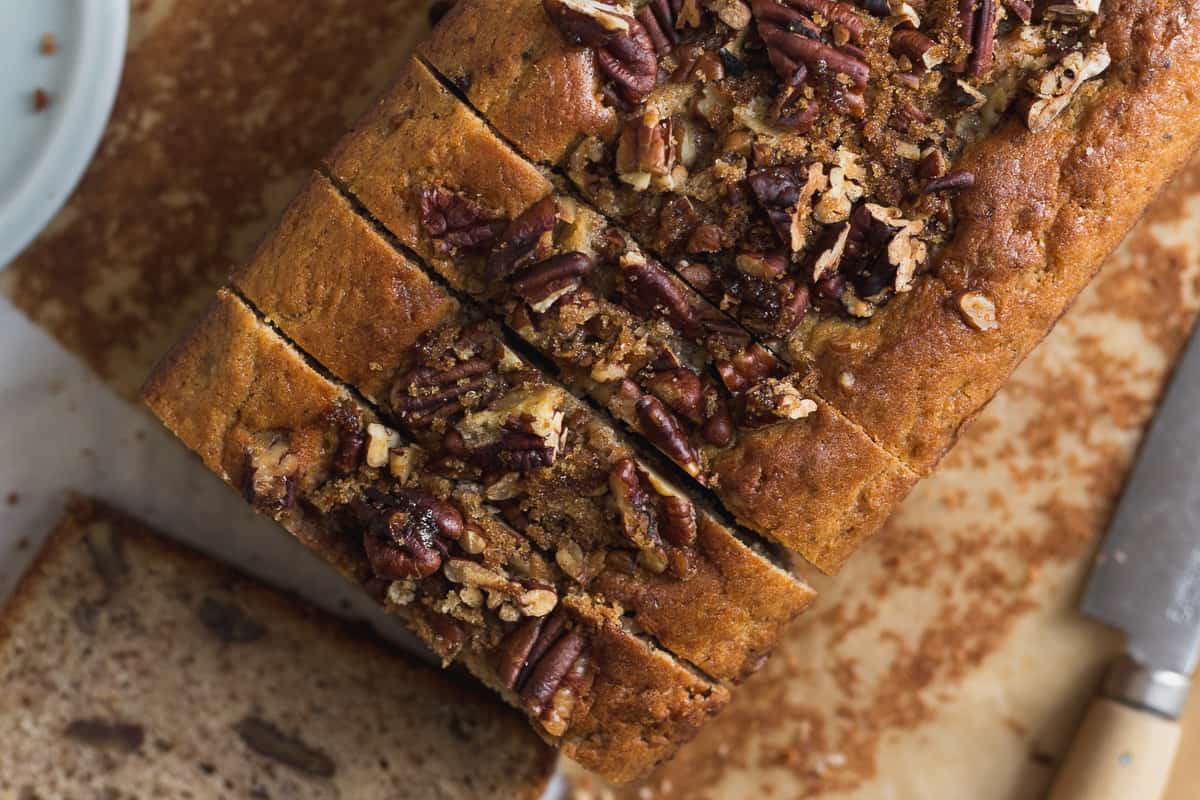 Brown Butter Pecan Bread Sliced