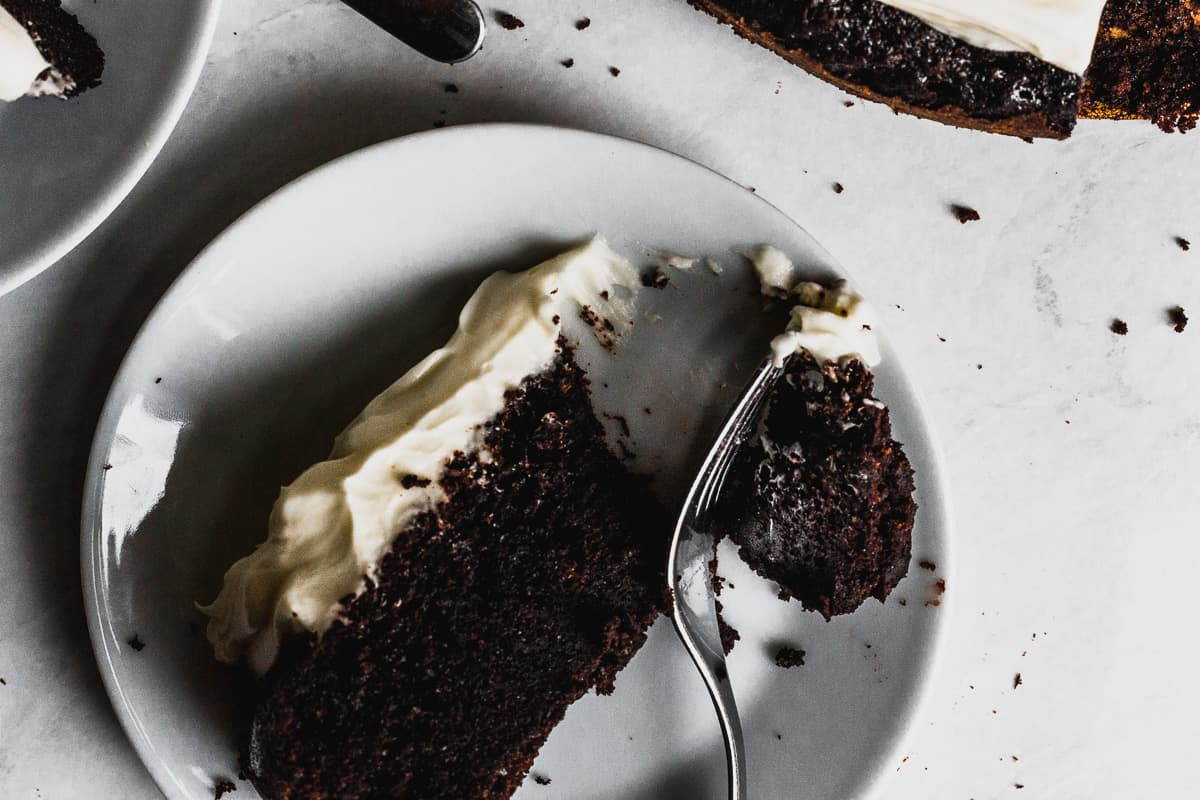 Slice of Chocolate Guinness Cake with Cream Cheese Icing