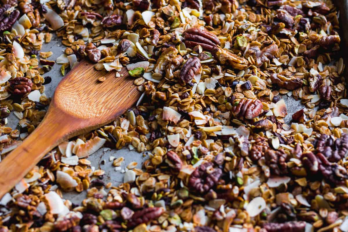 baked granola on sheet pan
