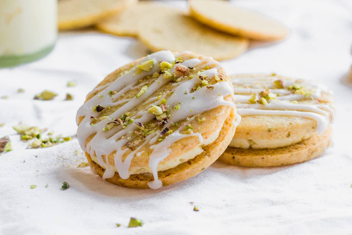 Pistachio and Lemon Cream Sandwich Cookies