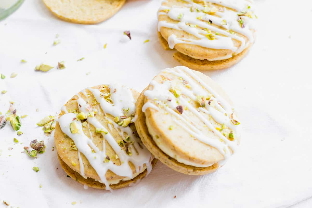 Pistachio and Lemon Cream Sandwich Cookies