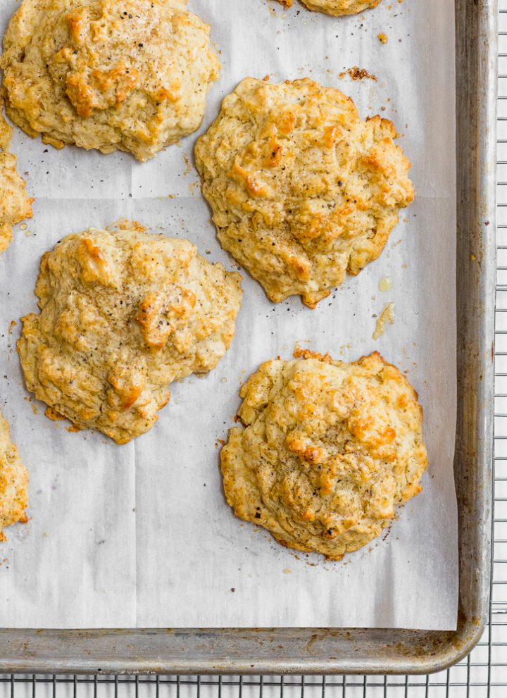 Maple Pepper Drop Biscuits cooling on Sheet Pan