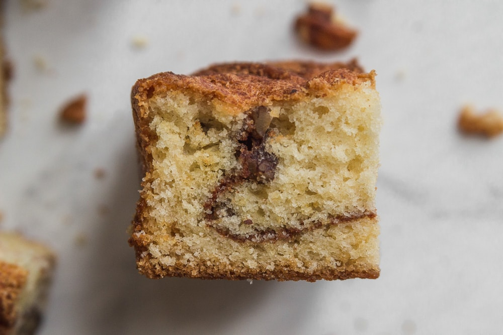 side of a piece of sour cream coffee cake
