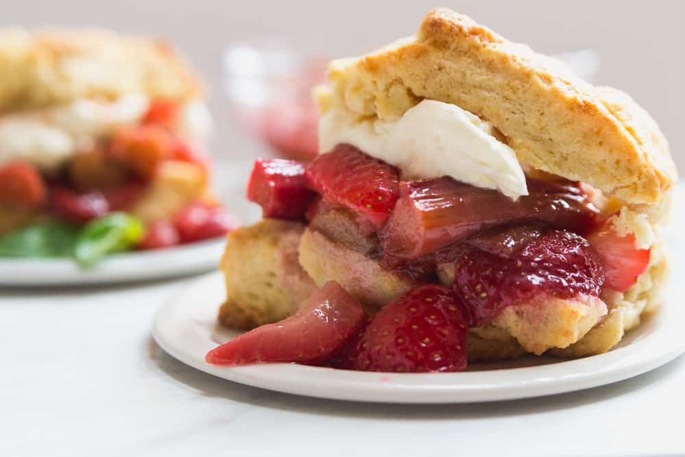 Roasted Strawberry Rhubarb Shortcake on plate