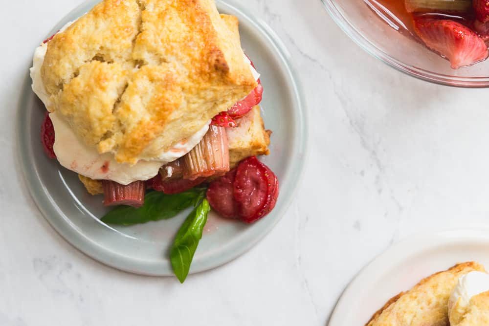 Top of Roasted Strawberry Rhubarb shortcake with basil whipped cream on a plate with basil garnish