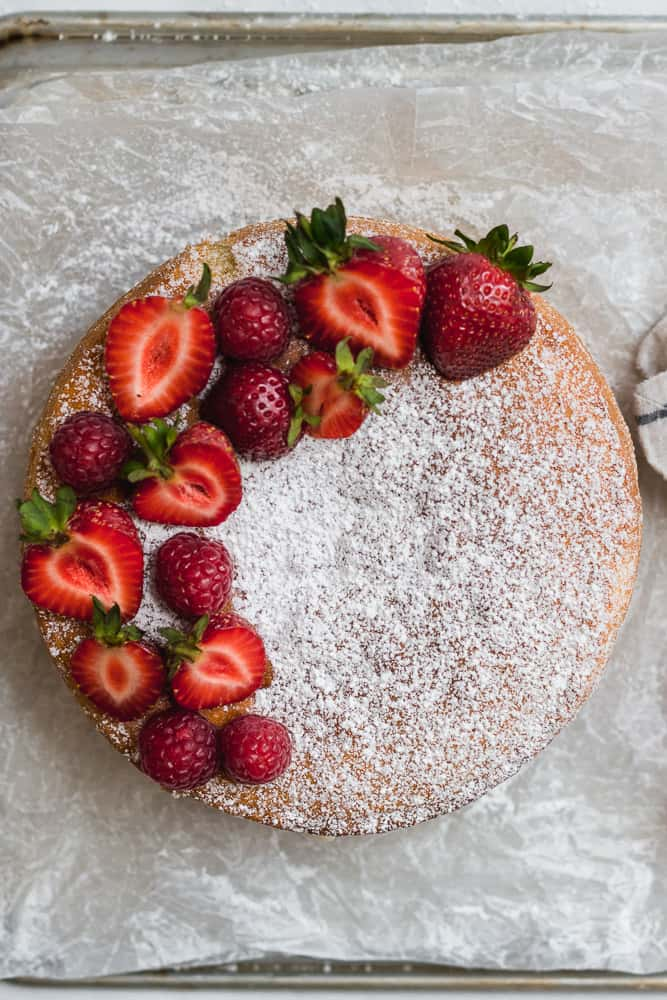 Victoria Sponge sandwich with strawberries and raspberries