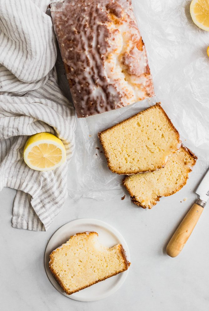 lemon drizzle cake with slices from overhead