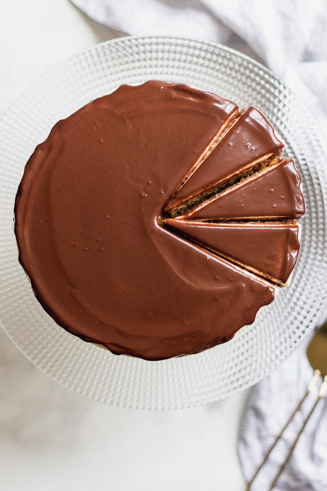 top of ganache cake with slices
