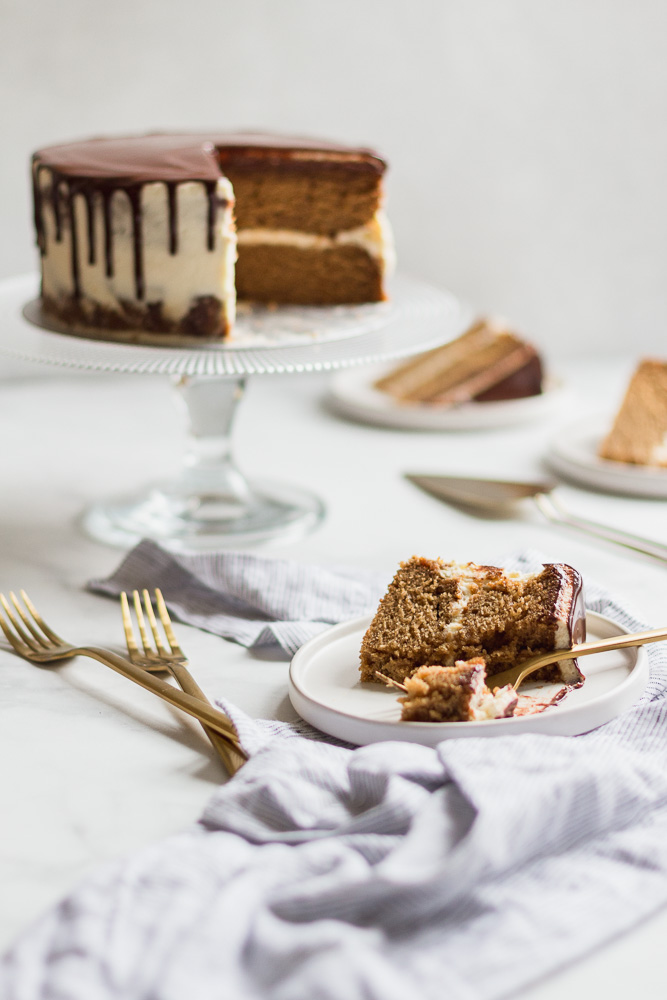 Sliced maple stout layer cake