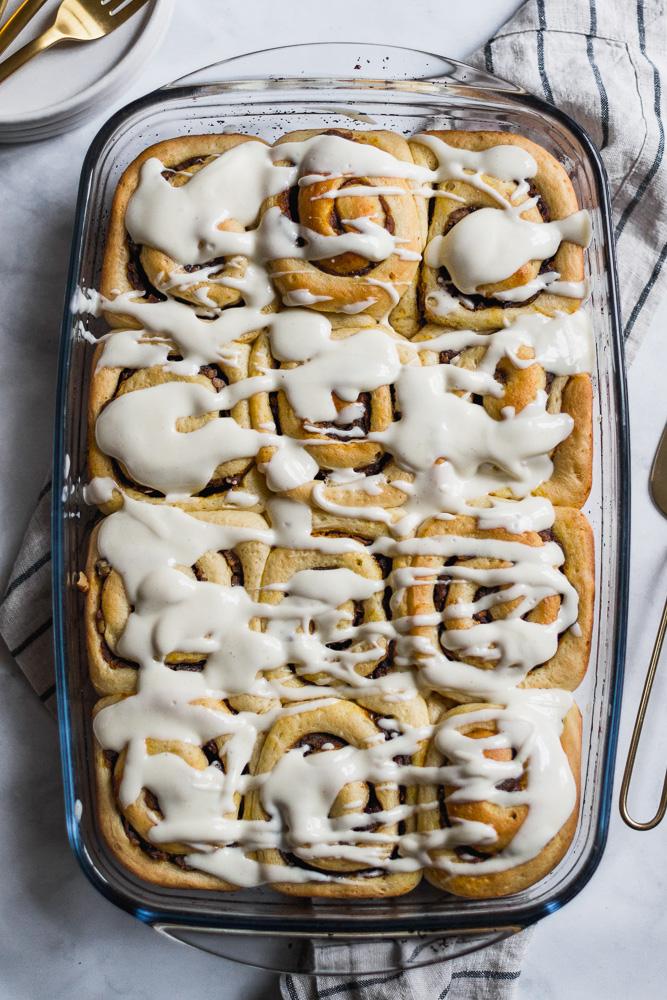 Baking dish with pumpkin butter cinnamon rolls