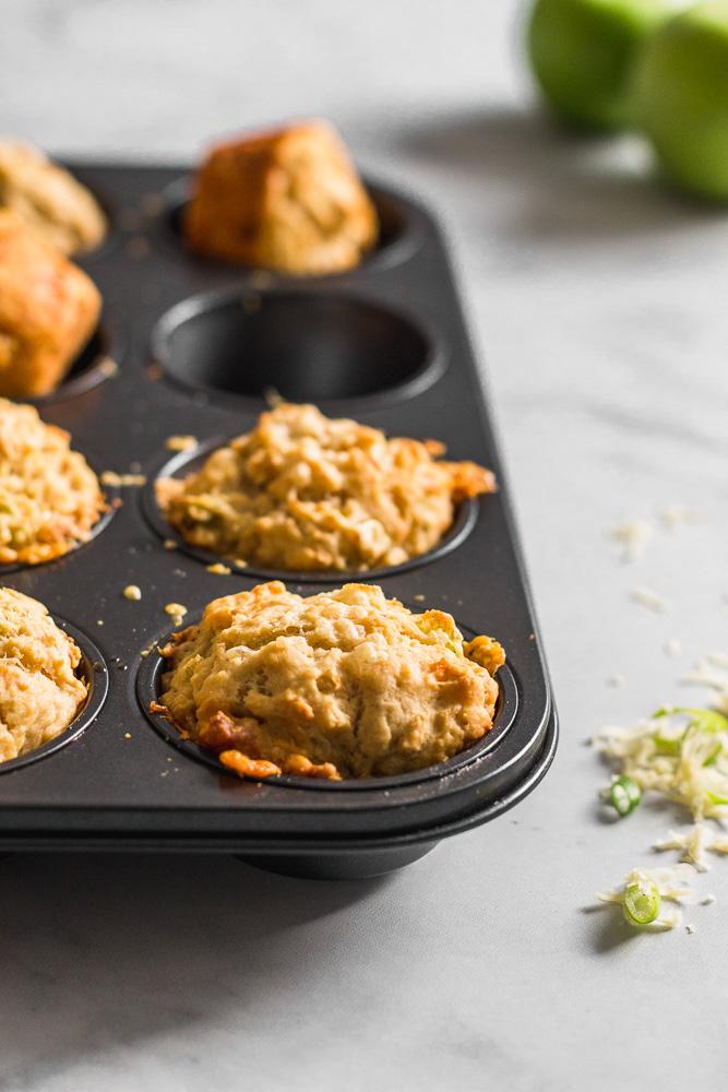 Pan of Apple Cheddar Beer Bread Muffins