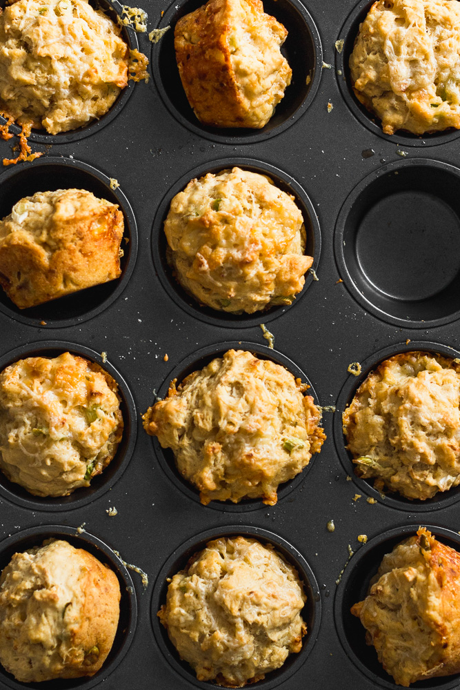 Pan of Apple Cheddar Beer Bread Muffins