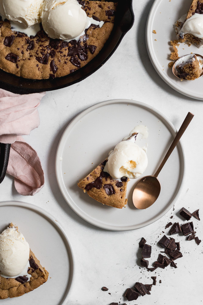 Slice of Biscoff Dark Chocolate Skillet Cookie